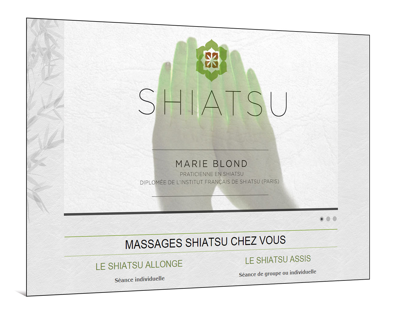 Site internet  Massages Shiatsu - Praticienne indépendante